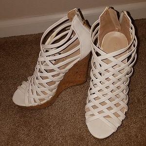 Platform white heels